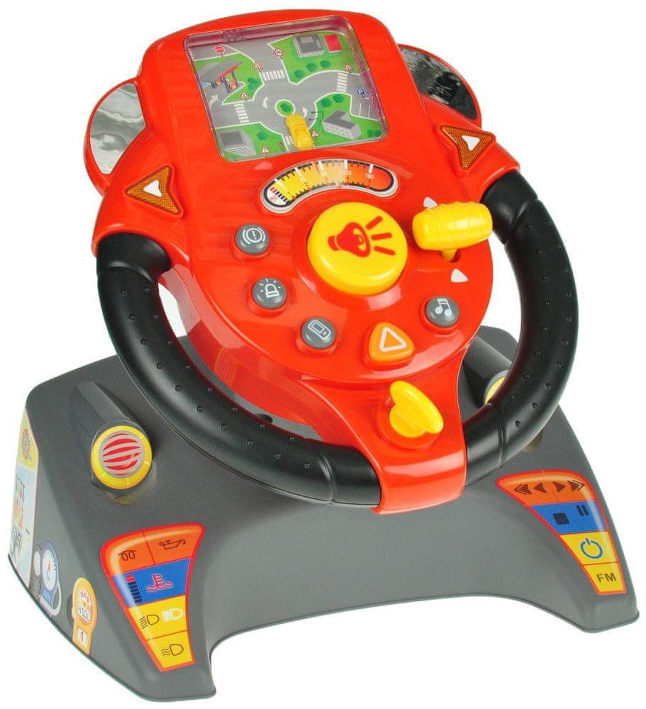 Mikro hračky Volant závodní se základnou na baterie se světlem a zvukem