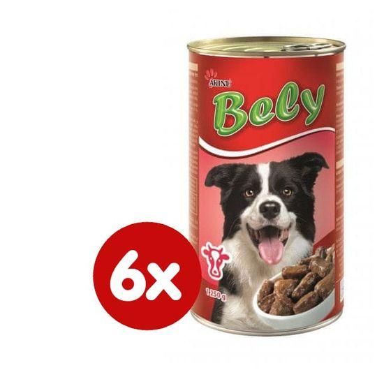 Akinu Bely kúsky v omáčke s hovädzím pre psov 6 x 1250g