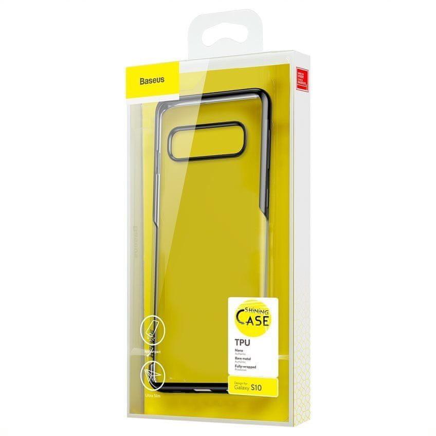 BASEUS Shining Series gelový ochranný kryt pro Samsung S10, černý, ARSAS10-MD01