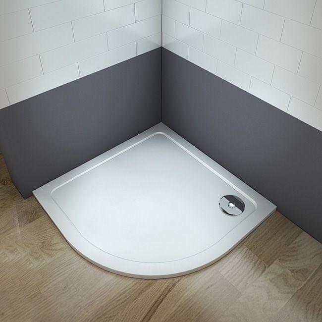 H K THOR Sprchová vanička z litého mramoru, čtvrtkruh, R550 90x90x3 cm