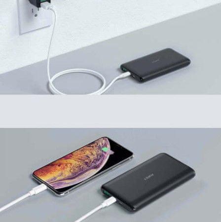 Aukey Slim Series rychlonabíjecí powerbanka s konektory USB-C a USB 2.0 a Micro-USB kabelem, 10 000 mAh, černá (LLTS190951)