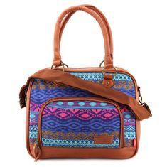 Target Ciljna torba za ramena, Barviti vzorci, rjava usnja