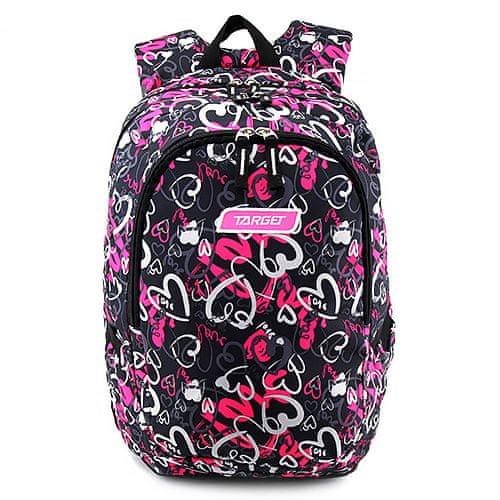 Target Plecak docelowy dla studentów, Różowo-czarne z sercami