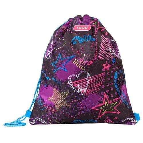 Target Docelowa torba sportowa, Serca i gwiazdy, fioletowe