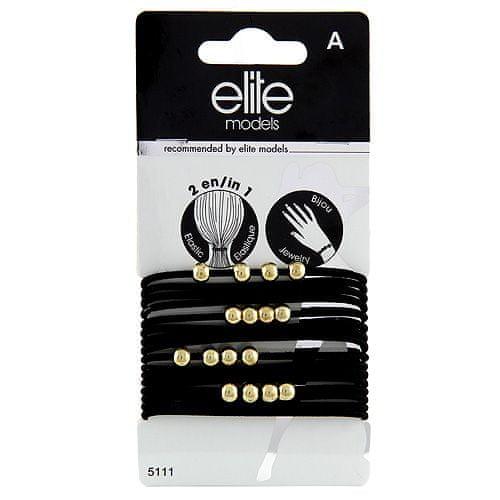 Elite Models Gumičkové náramky 2v1 , 16ks, černé, průměr 6,5cm