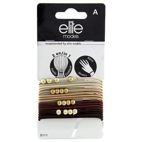 Elite Models Gumičkové náramky 2v1 , 16ks, hnědé, průměr 6,5cm