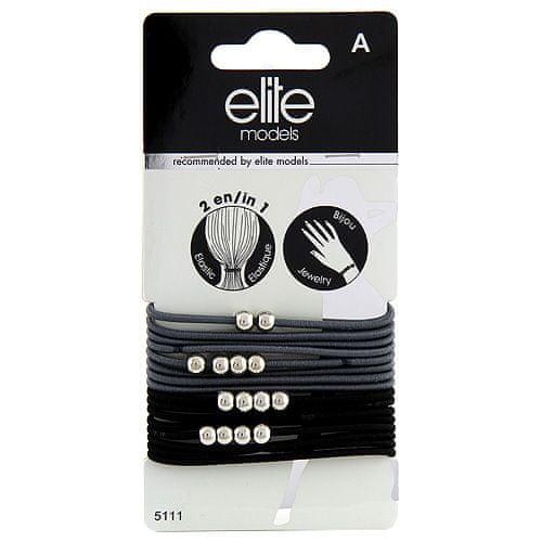 Elite Models Gumičkové náramky 2v1 , 16ks, šedé, průměr 6,5cm