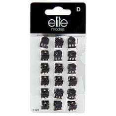 Elite Models Štipce do vlasov 18ks , Čierne, šírka 10 mm