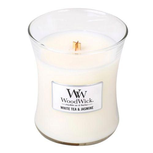 Woodwick Svíčka oválná váza WoodWick, Bílý čaj a jasmín, 275 g