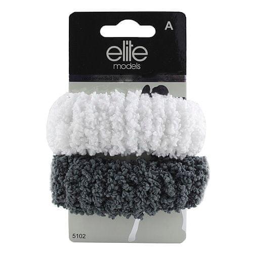 Elite Models Gumičky do vlasů 2ks , 2ks, šedo-bílé, průměr 10cm