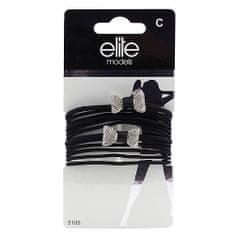 Elite Models Gumičky , 8ks, čierne + 2 strieborné mašle