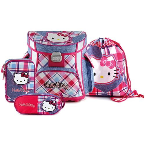 Hello Kitty šolski komplet, karirane kavbojke