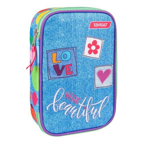 Target Školní penál s náplní , Barvné puntíky, jednopatrový, růžovo-modrý