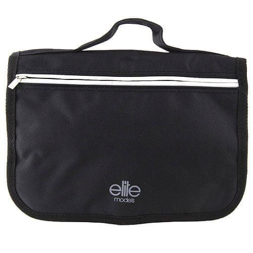 Elite Models Kozmetikai táska Elite modellek, fekete, szürke csíkkal