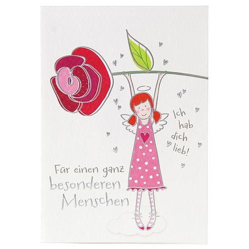 DEPESCHE Üdvözlés kártya-val medál, Az angyal szeret téged