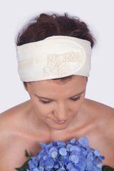 MaryBerry Krémová kosmetická čelenka s krajkou