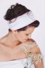 MaryBerry Bílo-růžová pruhovaná kosmetická čelenka