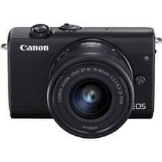 Canon EOS M200 fotoaparat + EF-M 15-45 IS STM objektiv, črn