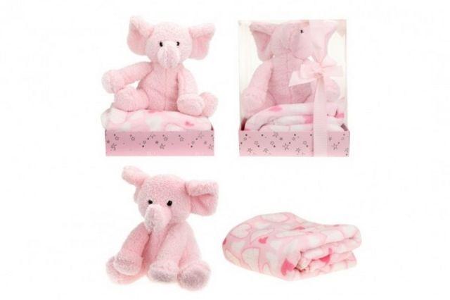 Teddies Sada slon plyš + deka růžový v blistru 20x26x18cm