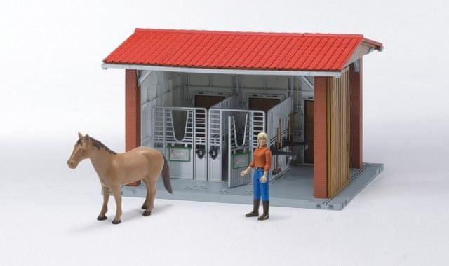 Bruder BWORLD 62520 Sada: Stáj s koněm,figurkou a příslušenstvím