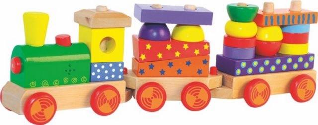 Woody Woody Skládací vlak s potiskem, světlem a zvukem - dva vagony