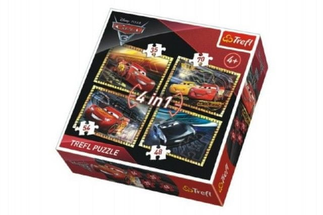 Trefl Puzzle 4v1 Auta/Cars 3 Disney