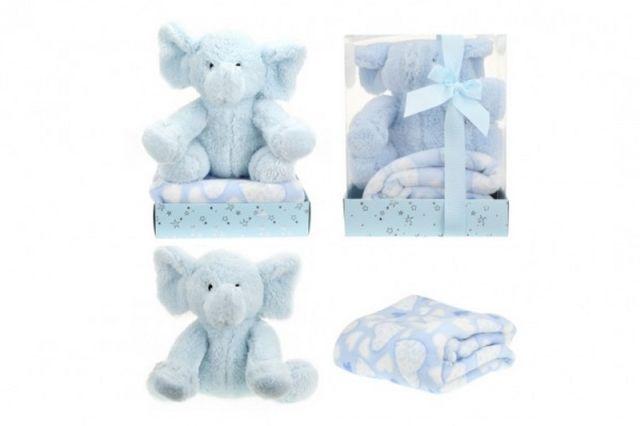 Teddies Sada slon plyš + deka modrý v blistru 20x26x18cm