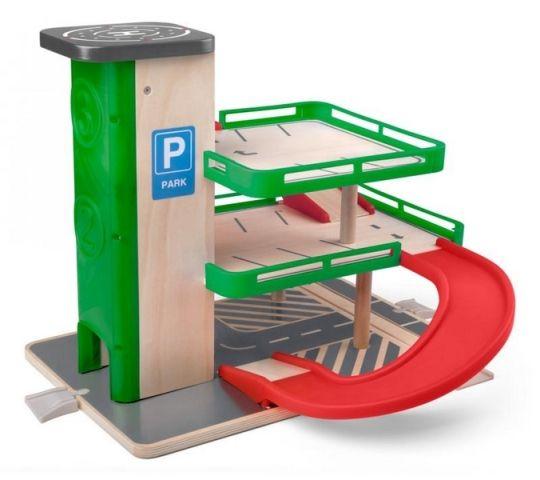 Woody Garáž s výtahem a SIKU autíčky - dřevo/plast