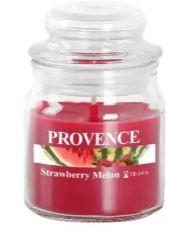 PROVENCE Svíčka ve skle s víčkem 70 g, jahoda a meloun