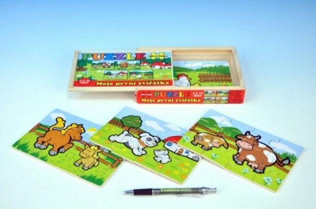 Teddies Puzzle dřevěné Moje první zvířátka 4x12 dílků