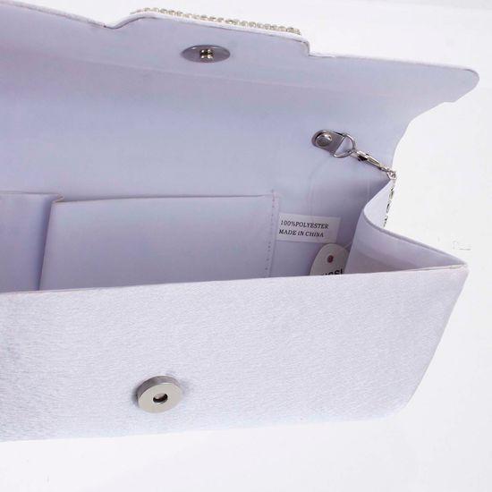 Michelle Moon Saténové psaníčko CORINNE s ozdobonou klopou, bílé
