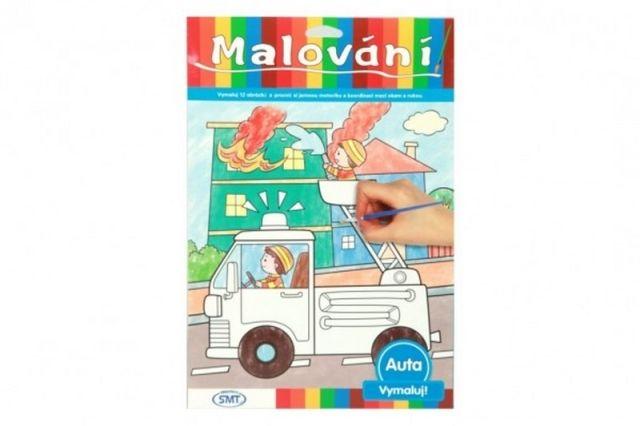 SMT Creatoys Malování auta omalovánky 12ks A4 s barvami a se štětcem na kartě