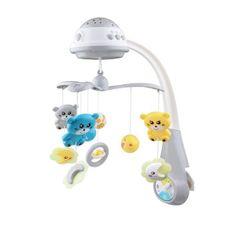 Baby Mix Kolotoč nad postieľku so svetelným projektorom Baby Mix grey Sivá