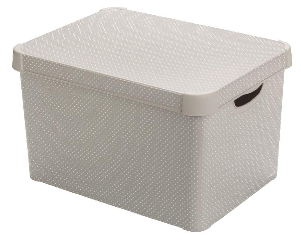 Curver Úložný box L šedý s tečkami