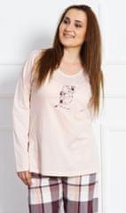 Vienetta Dámské pyžamo dlouhé Medvěd s čepicí barva smetanová, velikost 4XL