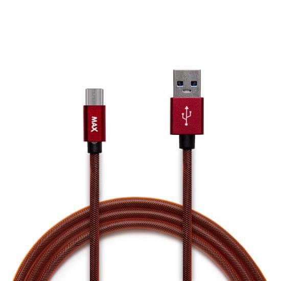 MAX Kabel micro USB opletený, 1m červený