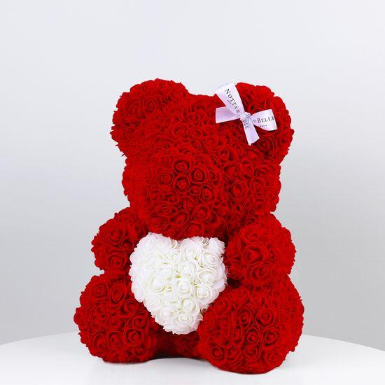 Notta & Belle Šedý medvídek z růží s srdcem - 35сm