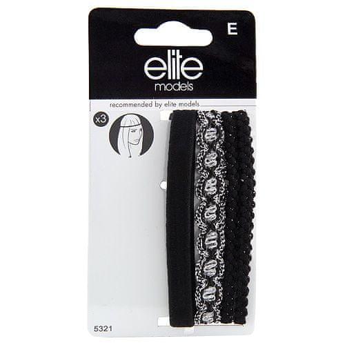 Elite Models Čelenky na čelo 3ks , 3ks, textilní, černá