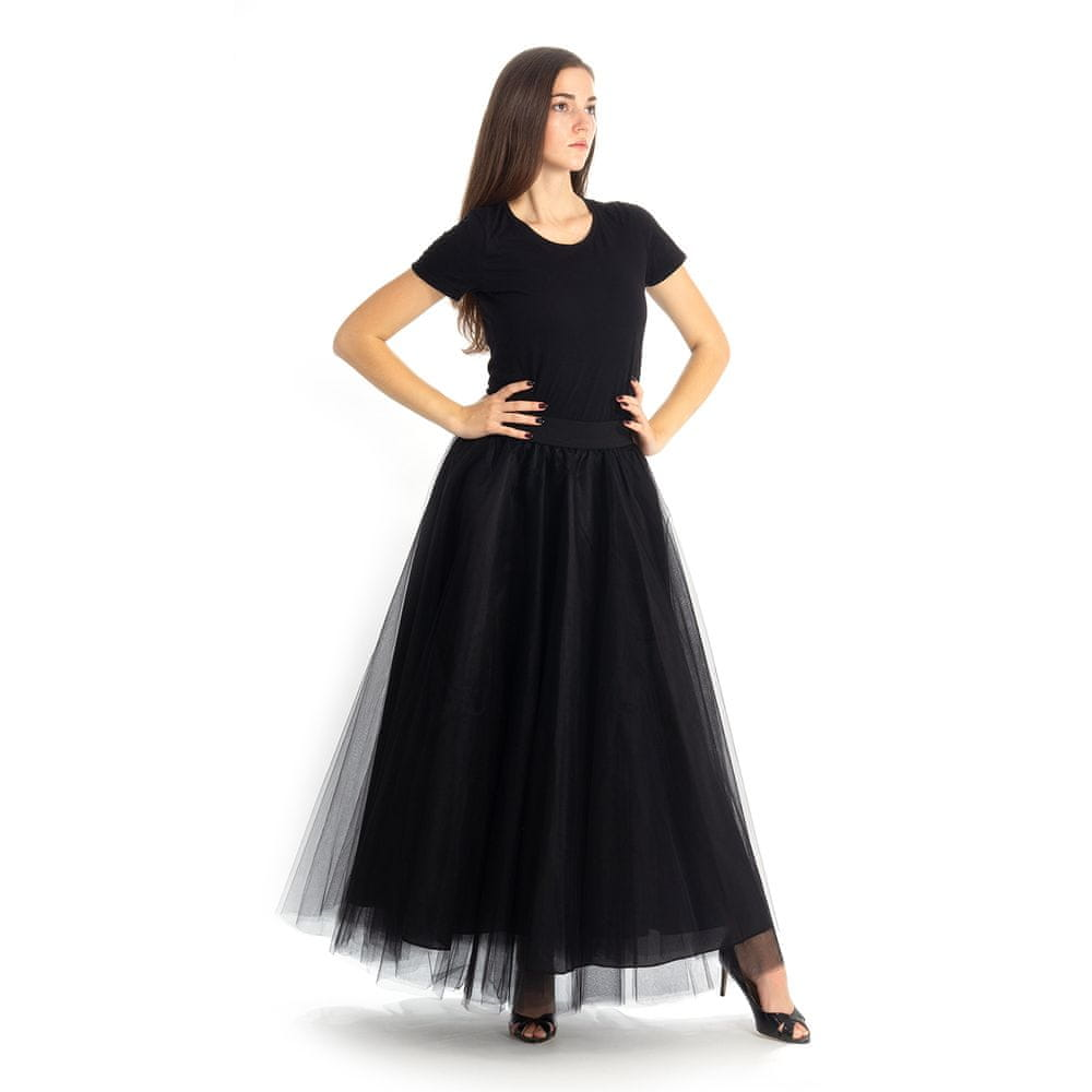 Cheremyha Tylová tutu sukně dlouhá plesová - černá