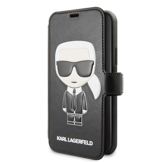 Karl Lagerfeld Ikonik Book Pouzdro pro iPhone 11 Black (EU Blister), KLFLBKSN61FIKPU