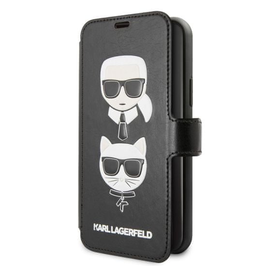 Karl Lagerfeld Cardslots Book Pouzdro pro iPhone 11 Black (EU Blister), KLFLBKSN61FKICK