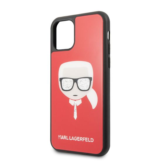 Karl Lagerfeld Dle Layers Glitter Kryt pro iPhone 11 Pro Red (EU Blister), KLHCN58DLHRE