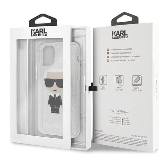 Karl Lagerfeld Glitter Iconic Kryt pro iPhone 11 Pro Silver (EU Blister), KLHCN58TPUTRIKSI
