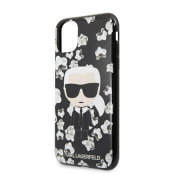 Karl Lagerfeld TPU Flower Kryt pro iPhone 11 Black (EU Blister), KLHCN61FLFBBK