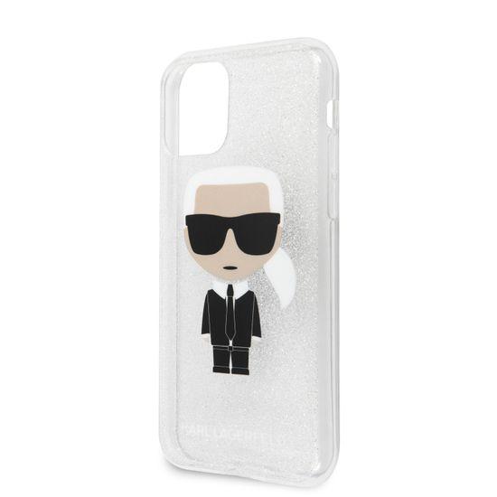 Karl Lagerfeld Glitter Iconic Kryt pro iPhone 11 Silver (EU Blister), KLHCN61TPUTRIKSI