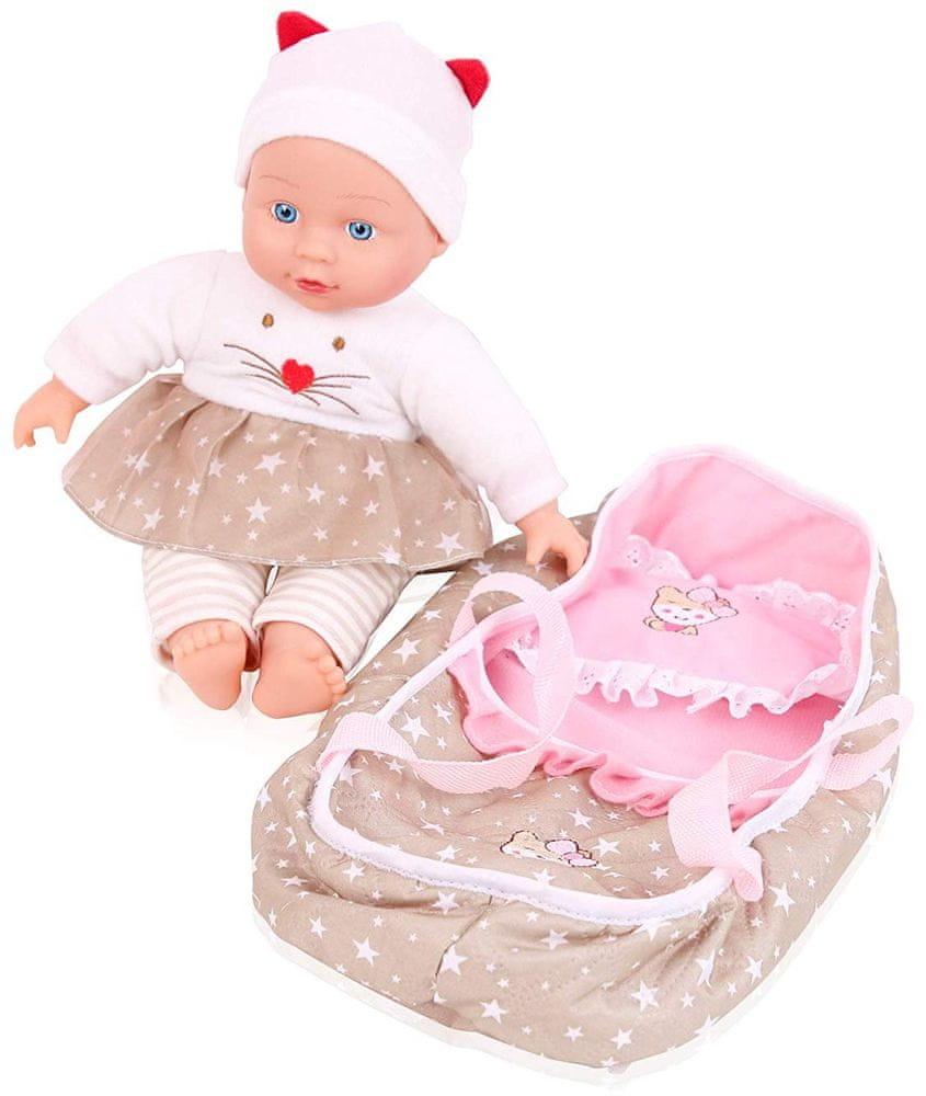 Teddies Panenka miminko měkké tělo s postýlkou, 30cm v krabici