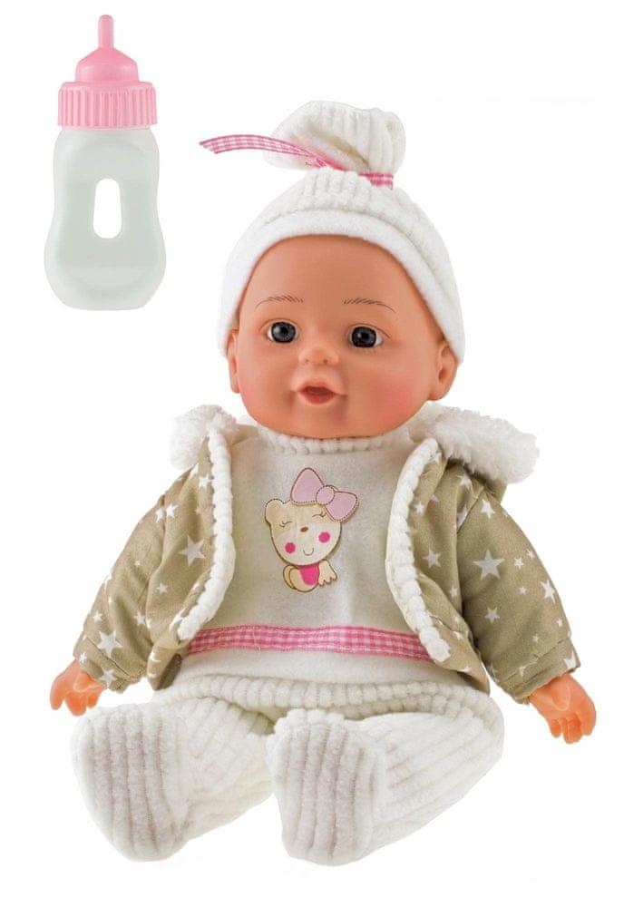 Teddies Panenka miminko v zimním oblečku měkké tělo s lahvičkou plast 30cm