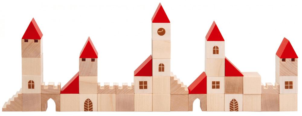 Detoa Stavebnice kostky 2,5cm dřevo městečko 100 dílků
