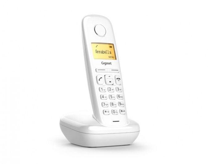 Gigaset -A170-WHITE - DECT bezdrátový telefon, seznam na 50 jmen, CLIP, až 25 zmeškaných hovorů, barva bílá