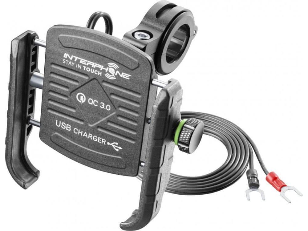 Interphone Univerzální držák na mobilní telefony MOTOCRAB s integrovaným USB portem, černý, SMMOTOCRABUSB